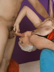 Platinum grannie gives a nasty blowjob