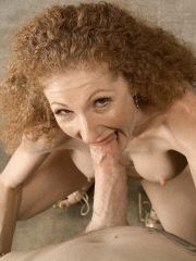 Fiery redhead gets mouth full of cum