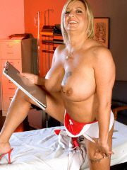 Mature naughty nurse takes her own pussy temp