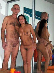 Nude married couples, husbands and wives absolutely naked..
