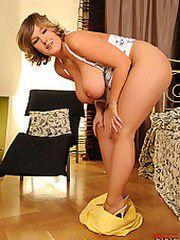 Busty Jenifer toying pussy
