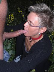 Blonde mature wife was caught and fucked in the forest,..