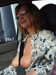 Wild matures and grannies flashing tits in public places