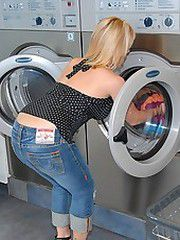 Hot big tits round ass milf gets picked up at the laundry..