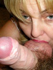 Blonde mature teasing and sucking friend's cock
