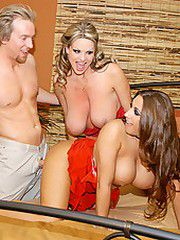 Kelly Madison and Alisandra get titty fucked and they take..
