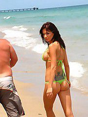 Super hot big tits long leg green bikini milf takes a hard..