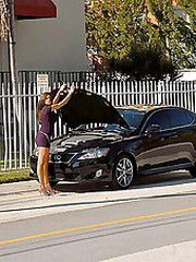 This amazing hottie hunter breaks down in her car and gets..