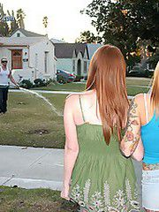 Two tattooed red headed sisters take a..