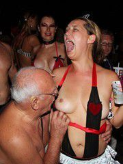 Nude festival with tons of naked mature girlfriends