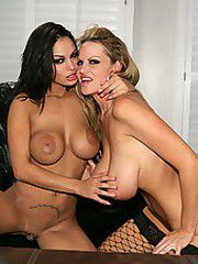 Angelina Valentine gets dominated by Kelly Madison who..