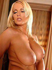 Big boobed blonde dildoing