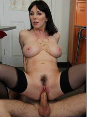 Raven-Haired Mature Woman Drenched In Cum