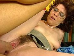 Haired granny gets pussy fuck and cum cover glasses