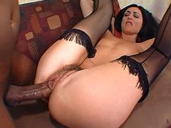Sexy brunette mom in stockings fucked..