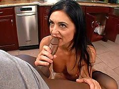 Sexy brunette mom in stockings fucked on kitchen