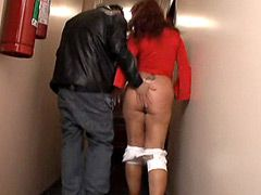 Shaved redhead mature with..