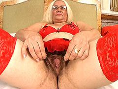 Hairy granny in red stockings fucking Interracial