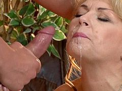 Busty blonde mature woman sucks cock and doggystyle