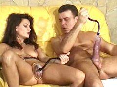 Mature fife and husband masturbating on sofa