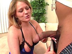 Mature mom in black stocking fucking hard at home