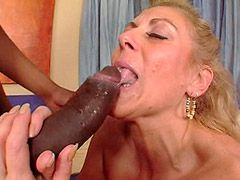 Blonde mature interracial pussy fuck and blowjob