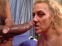 Blonde mature interracial pussy fuck and blowjob