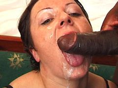 Mature babe gets hard double drilled in wild interracial..