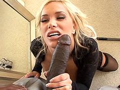 Big tits blonde milf gets monster black cock in ass