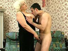 Pretty granny in black stocking fucking hard at home