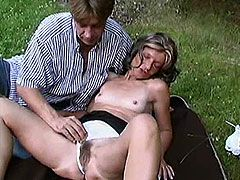 Horny granny hairy old pussy naked and fucking outdoor