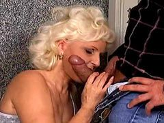 Old blonde mature sucking young cock and gets cumshot