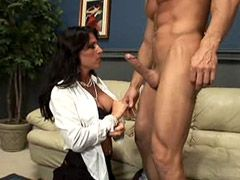 Hot brunette wife gets hardcore bang and facia