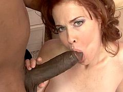 Sexy busty mature interracial hardcore action and sucking..