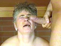 Chubby mature gets facial cumshot after fuck