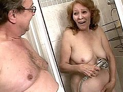 Strong hard dick screwing sexy redhead mature babe on sofa