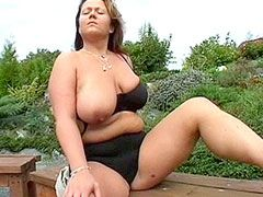 Chubby mature with natural big tits suck cock and fucking..