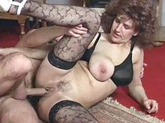 Bis boobs mature in black stockings pussy creampie