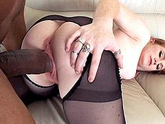 Redhead sexy mom in black stocings gets gigantic back dick in pussy