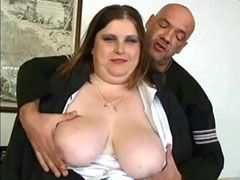 Plumper mature with natural big boobs jerking dick