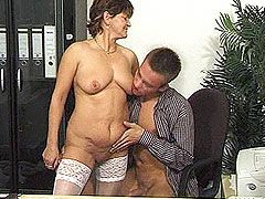 Hot granny in white stockings with natural titts fucked in office