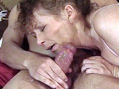 Granny woman in black stockings sucks dick and fucking