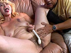 Blonde mature babe with hairy pussy playing with dildo and..