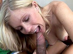 Horny blonde mom sucking and jumping on black cock