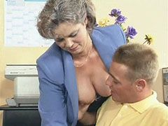 Old busty teacher fucked by young student