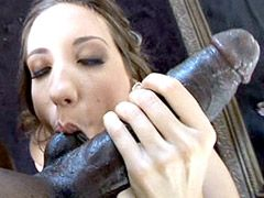 Wife sucking monster black cock