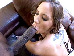 Wife bicth sucking monster black cock and fucking doggystyle