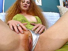 Redhead busty wifesuck and gets big dick in hairy pirsing pussy