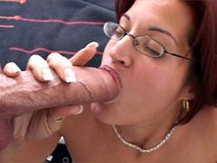 Mature mom in glasses loves only big..