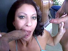 Busty mature wife sucks two cocks and gets cumshot